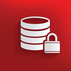 Lock,Database symbol on red background,clean vector