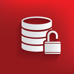 Unlock,Database symbol on red background,clean vector
