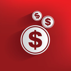 Money symbol on red background,clean vector
