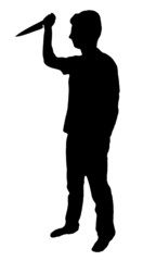 Mad man with knife silhouette on white