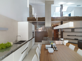 interior view of a modern living room and kitchen