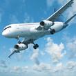 Jet aircraft is maneuvering for landing