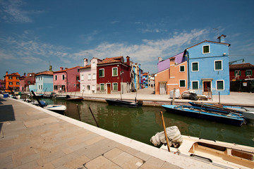 Canal with colorful houses- Burano, Veneto Italy