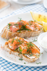 bread with salted salmon and cream cheese for breakfast, closeup