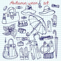 Outline Vector Female Accessories Set.Sketchy notepaper