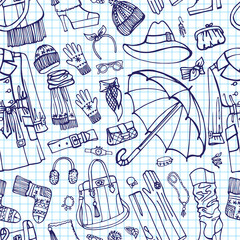 Coat and  accessories in seamless pattern. Sketchy Notepaper