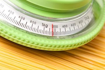 kitchen scale with spaghetti