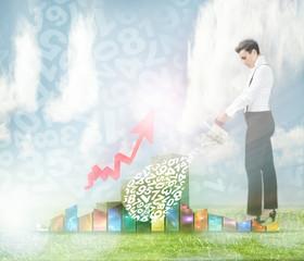 woman broker watering actions portfolio