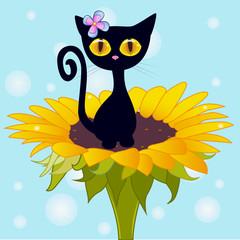 Сartoon Black kitten
