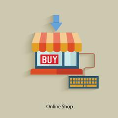Online shop design,clean vector