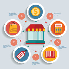 Shopping concept info graphic design,clean vector