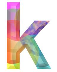 renkli k harfi tasarımı