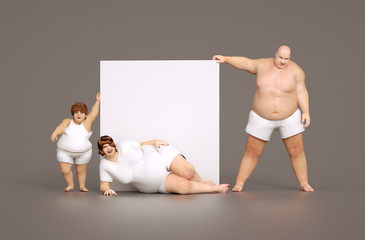 Fat family with empty sign - for your own text