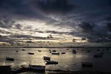 Atardecer en la bahía de Cadiz