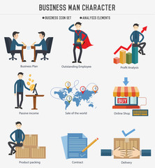 Business human resource character on white background