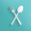 Spoon symbol on blue background,clean vector