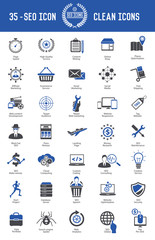 SEO development icon set on white background,blue version