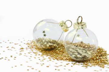 boules de Noël transparentes et pailettes