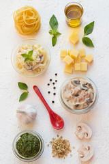 Creamy Ham and Mushroom Tagliatelle with Basil Pesto