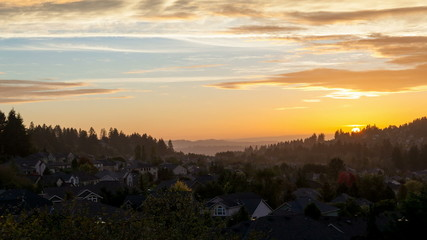 Time-lapse of Sunset and Clouds over Happy Valley in OR