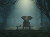 elephant and dog sitting in a gloomy park