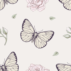 butterfly and rose seamless pattern