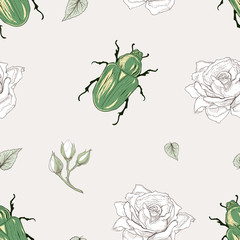 rose chafer seamless pattern