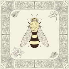 bee and rose drawing