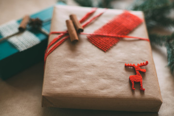 Retro Christmas gifts box presents on brown paper