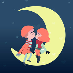 Lovers kiss on the Moon.