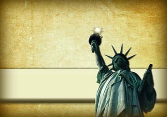 Estatua de la Libertad, New York, fondo, etiqueta
