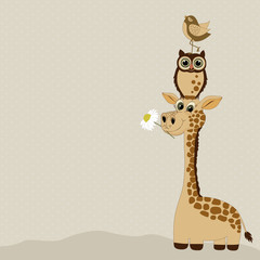 Greeting card with cute  giraffe and birds