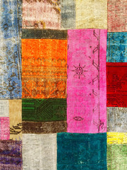 Colorful vintage patchwork rug