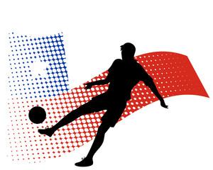 chile soccer player against national flag