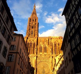 Cathédrale de Strasbourg au coucher de soleil