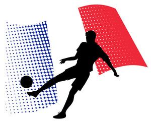 france soccer player against national flag