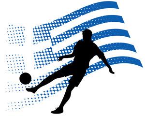 greece soccer player against national flag
