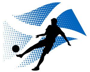 scotland soccer player against national flag