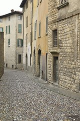 Cobbled street in Bergamo, northern Italy