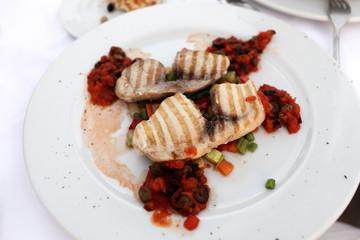 Grilled fillet of swordfish