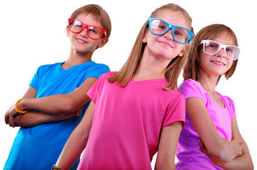 team of happy children wearing eyeglasses isolated over white