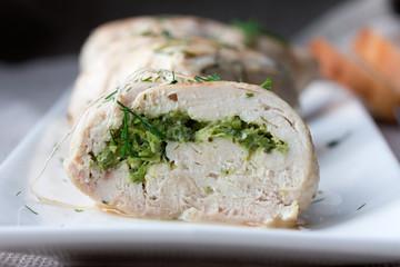 Plate of sliced chicken roll