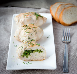 Plate of sliced chicken roll
