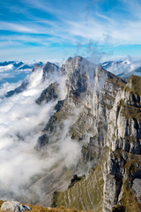 The Churfirsten mountains in the Swiss alps
