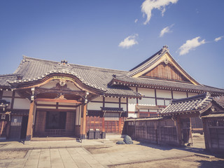 Traditional Japanese architecture with retro vintage style
