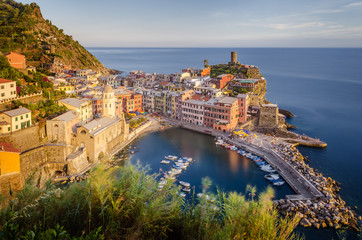 Sunset at Vernazza in the Cinque Terre National Park, Italy