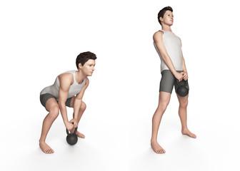 kettlebell exercise - deadlift