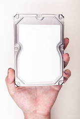 Female hand with Hard Drive on white