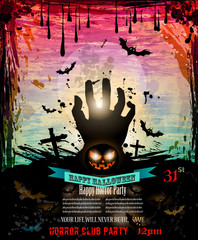 Halloween Party Flyer with creepy colorful elements