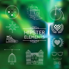 Hand-drawn hipster elements on a blurred background.